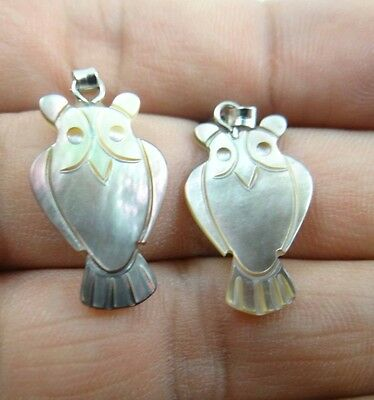 2pcs Beautiful Abalone Shell carved the statue of owl PENDANT S36