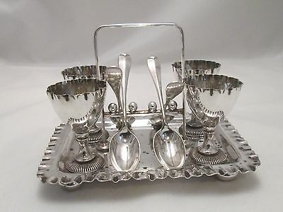 A late 19th Century Silver Plated Egg Rack by Walker & Hall - Egg Cups