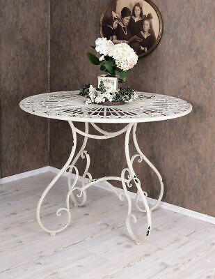 Round dining table garden table Shabby Chic iron table white metal table