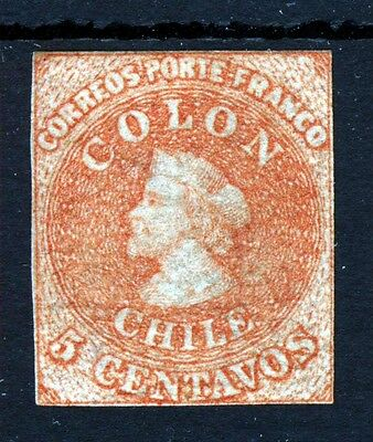 CHILE 1866  5c. Red-Brown COLON FIRST REPRINT  MINT