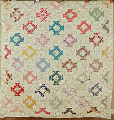 GORGEOUS Vintage Churn Dash Friendship Signature Antique Quilt ~NOVELTY PRINTS!