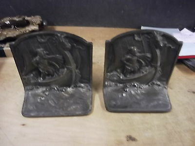 "Fabulous Pair of Vintage Cast Iron ""VIKING NORSEMEN"" Bookends"
