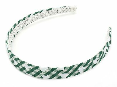 Zest Chequered Pattern Alice Band Hair Accessory Green and White