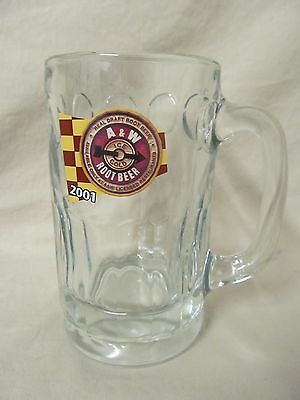 """2001 Spinner & Checked Flag Logo A&W Root Beer Glass Stein Mug 5.5"""" Tall"""