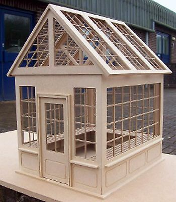 1:12th Scale Natural Finish MDF Dolls House Flat Pack Unglazed Greenhouse