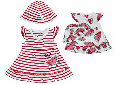 Babytown Baby Girls Pretty Cotton Dress & Hat Set