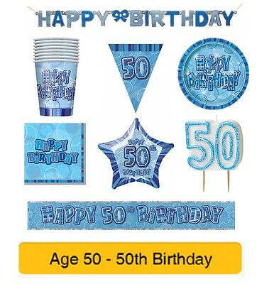 AGE 50 - Happy 50th Birthday BLUE GLITZ - Party Balloons, Banners & Decorations