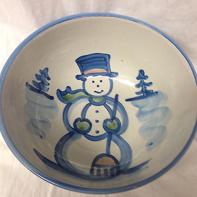 "Hadley M A Christmas Snowman Round Serving Bowl 8 1/2"" Blue Trim Trees"
