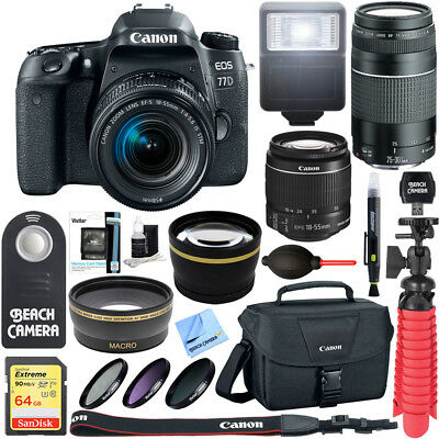 Canon EOS 77D 24.2 MP DSLR Camera with EF-S 18-55mm IS STM Dual Lens X2 Kit