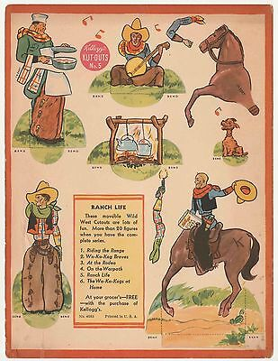 Vintage 1930s Kellogg Kut-Outs No.5 Ranch Life - Corn Flakes Wild West Cowboys