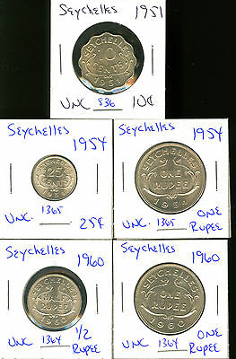 Seychelles - 1951 10 Cents 1954 25 Cents & One Rupee 1960 1/2 & 1 Rupee  5 Coins