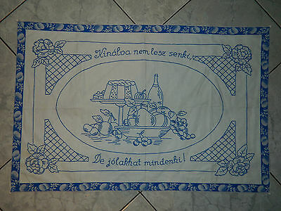 Old antique wall hangings Hungary Folk canvas church blessing hand embroidered