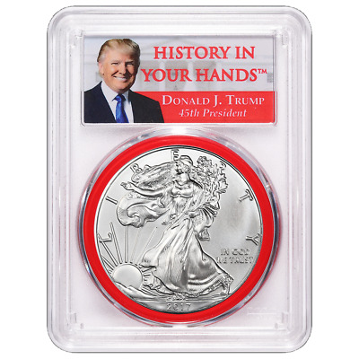 2017 $1 American Silver Eagle PCGS MS69 Donald Trump First Day of Issue Label Re
