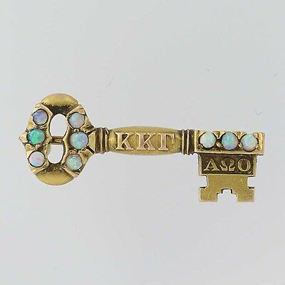 Kappa Kappa Gamma Key Badge - 14k Yellow Gold Opals 1913 Cornell Sorority Pin