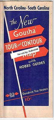 1934 North South Carolina Road Map Goodrich Tires Dealer Advertising Gousha Tour