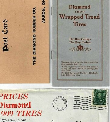 1909 Diamond Wrapped Tread Automobile Tire brochure Akron OH Advertising Booklet