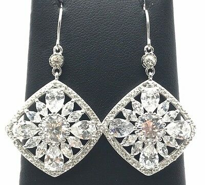 Sterling Silver Rhombus Drop Earrings CZ Pink #65373
