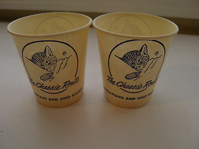 2 Vintage Chessie Route Advertising Chesapeake And Ohio Railway Paper Cups Cat