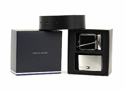 TOMMY HILFIGER Belt Double Buckle Gift Box 3.5 Adjustable Reversible W85 Black/B