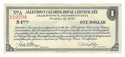 1933 ALLENTOWN CLEARING HOUSE, PENNSYLVANIA, $1 DEPRESSION SCRIP, PA100-1a