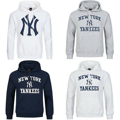 save off 363c6 c8254 MAJESTIC NY NEW York Yankees Hoodie Pull Over Hooded Sweatshirt Jumper Mens  M3