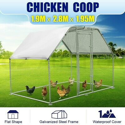 1.9M x 2.8M Large Metal Chicken Coop Walk-in Cage Run House Shade Pen W/ Cover