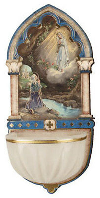 Lady Of Lourdes Holy Water Font - Religious Candles Statues Pictures Also Listed