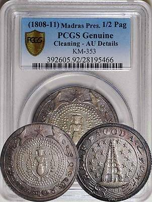 India Madras Presidency Half 1/2 Pagoda PCGS Secure Plus AU, Rare!