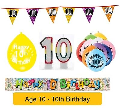 AGE 10 - Happy 10th Birthday Party Banners, Balloons, Decorations