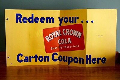 Vintage New Old Stock Royal Crown RC Cola Paper Store Sign Redeem Coupon