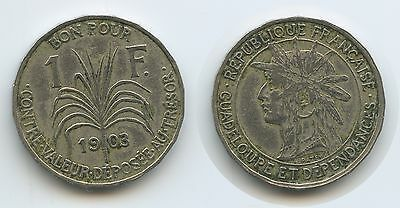 G2646 - Guadeloupe 1 Franc 1903 KM#46 SEHR RAR French Colony