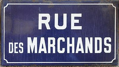 Old French enamel street sign road plaque rue Marchands traders merchants Colmar