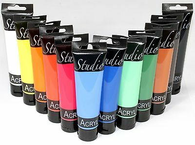 (16,66€/L) 12 Tuben a 100 ml MAGI Studio-Acrylfarbe,Top-Starter-Set 12 Farben