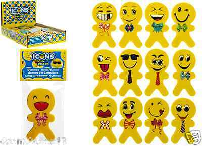 ICON ERASERS X 36 ASSTD. JUST 23p, WITH DISPLAY, GREAT GIFT