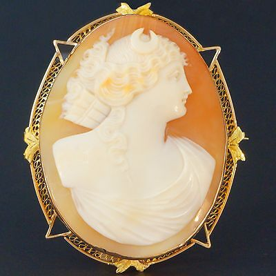 c-1940s Large Solid 14K Yellow Gold & Shell Cameo Filigree Pin, Brooch, Pendant