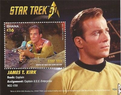 Ghana - 2015 Star Trek 50th Anniversary Kirk - Souvenir Sheet - 7K-009