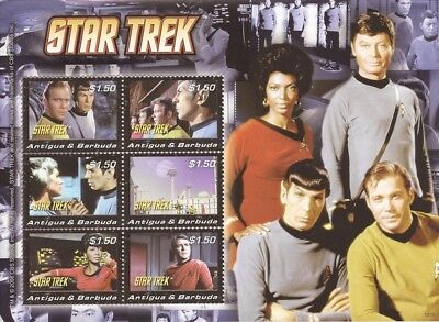 Antigua - 2008 Star Trek Kirk Spock - 6 Stamp Sheet #3021 - 1N-019
