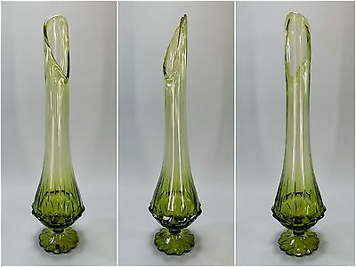 """1960's Vintage Mid Century Stretch Vase by Fenton, 22"""" Smoked Green Swung Glass"""
