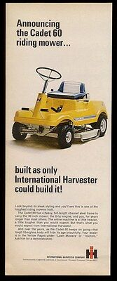 1968 International Harvester Cadet 60 riding lawnmower mower photo print ad