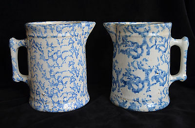 Lot of 2 ANTIQUE Blue White Stoneware Pottery SPONGEWARE Spatterware PITCHER 7""