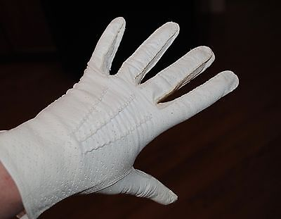 Vintage Ladies Gloves White Kid Leather ITALY New in Pkg Size 7 small