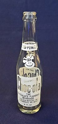CHOC-OLA FLAVORED CHOCOLATE BEVERAGE CLEAR GLASS 9 OZ BOTTLE PAINTED LABEL1970s