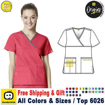 WonderWink Origins XS-3XL Women Y-Neck Fashion Medical Work Scrub Top