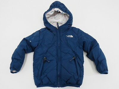 North Face Reversible Down Childrens Kids Girls Hooded Puffy Jacket Size XXS