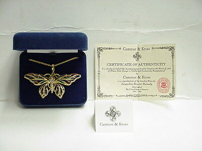 Enamel & Swarovski Crystal Butterfly Pin/Necklace Reproduction By Camrose &Kross