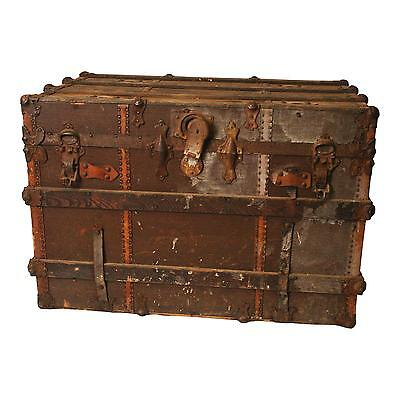 Vintage STEAMER TRUNK train luggage BROWN flat top coffee table side storage box
