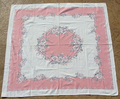 Vtg Deco Pink Floral Retro Tablecloth Table Cloth Trousseau Linen Outfitters Old