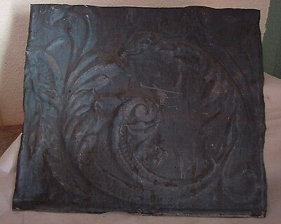 "Cool Antique 1800's Embossed Dragon Stamped Tin Ceiling / Wall Tile 12"" x 11"""