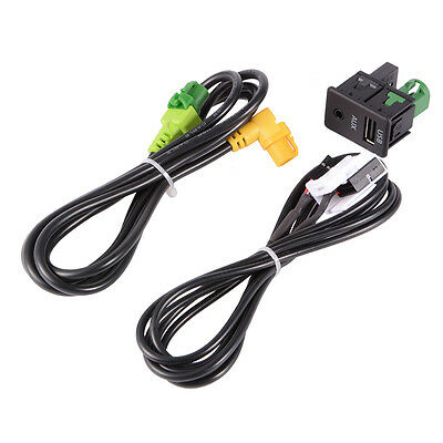 USB Aux Switch+Wire Cable Audio Input Adapter 3.5mm Jack for BMW E87 E90 AC516