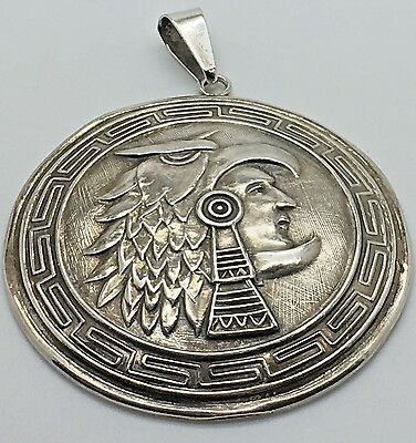 "Taxco Sterling Silver Aztec Warrior Pendant High Relief 2.25 "" Chunky  Mexican"